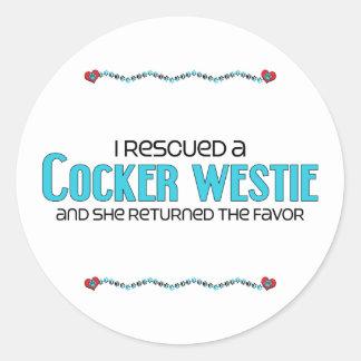 I Rescued a Cocker Westie (Female) Dog Adoption Round Sticker