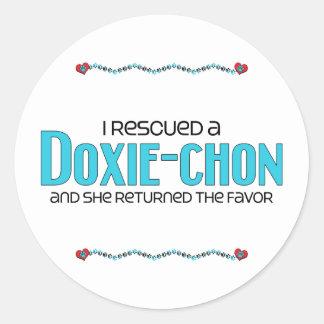 I Rescued a Doxie-Chon (Female) Dog Adoption Round Sticker