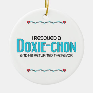 I Rescued a Doxie-Chon (Male) Dog Adoption Design Round Ceramic Decoration