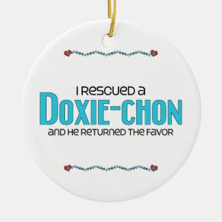 I Rescued a Doxie-Chon (Male) Dog Adoption Design Round Ceramic Decoration