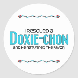 I Rescued a Doxie-Chon (Male) Dog Adoption Design Round Sticker