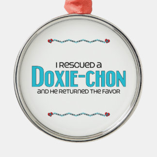 I Rescued a Doxie-Chon (Male) Dog Adoption Design Silver-Colored Round Decoration