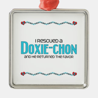 I Rescued a Doxie-Chon (Male) Dog Adoption Design Silver-Colored Square Decoration