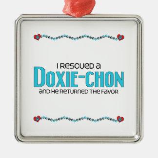 I Rescued a Doxie-Chon (Male) Dog Adoption Design Silver-Colored Square Decoration