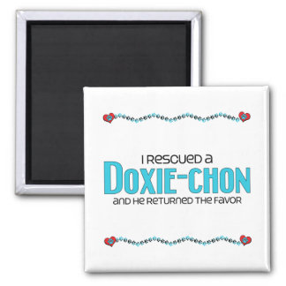I Rescued a Doxie-Chon (Male) Dog Adoption Design Square Magnet
