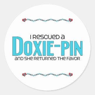 I Rescued a Doxie-Pin (Female) Dog Adoption Design Round Sticker