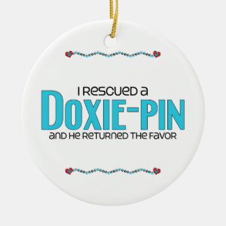 I Rescued a Doxie-Pin (Male) Dog Adoption Design Round Ceramic Decoration