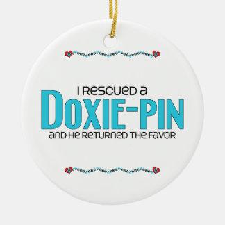 I Rescued a Doxie-Pin (Male) Dog Adoption Design Round Ceramic Decoration
