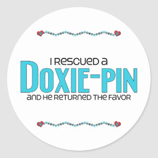 I Rescued a Doxie-Pin (Male) Dog Adoption Design Round Sticker