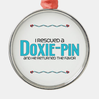 I Rescued a Doxie-Pin (Male) Dog Adoption Design Silver-Colored Round Decoration