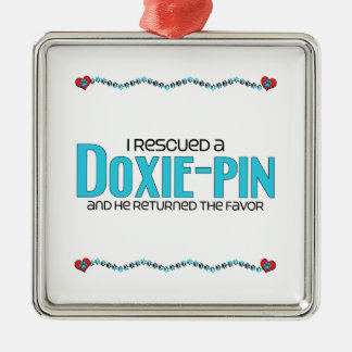 I Rescued a Doxie-Pin (Male) Dog Adoption Design Silver-Colored Square Decoration