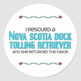 I Rescued a Duck Tolling Retriever (Female Dog) Round Stickers