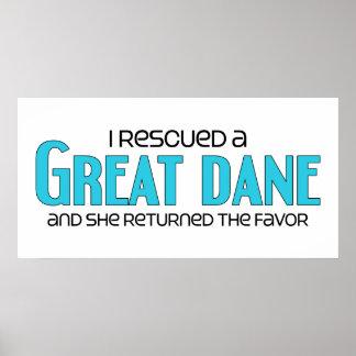 I Rescued a Great Dane Female Dog Print