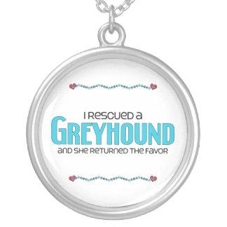 I Rescued a Greyhound (Female Dog) Personalized Necklace