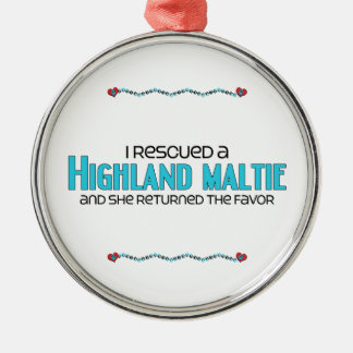 I Rescued a Highland Maltie (Female) Dog Adoption Christmas Ornament