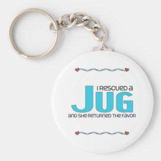 I Rescued a Jug (Female) Dog Adoption Design Basic Round Button Key Ring