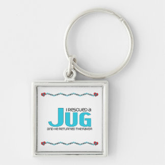 I Rescued a Jug (Male) Dog Adoption Design Silver-Colored Square Key Ring
