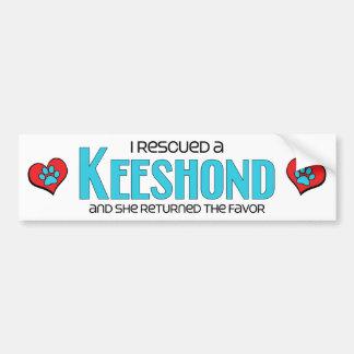 I Rescued a Keeshond (Female Dog) Bumper Sticker