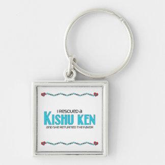 I Rescued a Kishu Ken (Female Dog) Silver-Colored Square Key Ring