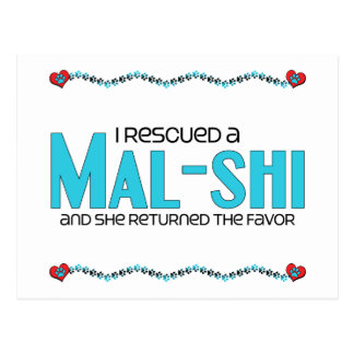 I Rescued a Mal-Shi (Female) Dog Adoption Design Postcard