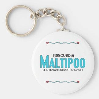I Rescued a Maltipoo (Male) Dog Adoption Design Basic Round Button Key Ring