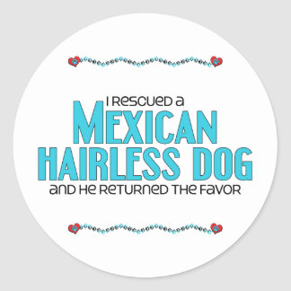 I Rescued a Mexican Hairless Dog (Male Dog) Round Stickers