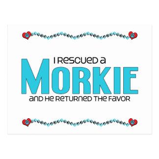 I Rescued a Morkie (Male) Dog Adoption Design Post Cards