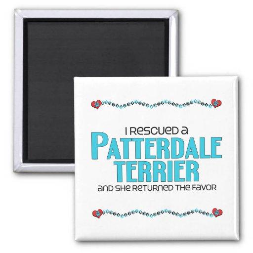 I Rescued a Patterdale Terrier (Female Dog) Fridge Magnet