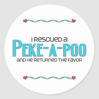 I Rescued a Peke-a-Poo (Male) Dog Adoption Design Round Stickers
