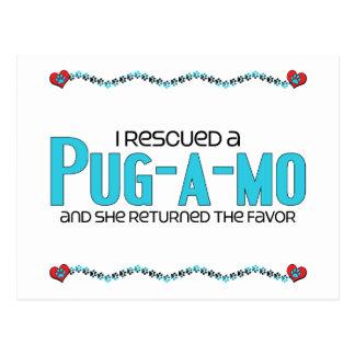 I Rescued a Pug-A-Mo (Female) Dog Adoption Design Postcard