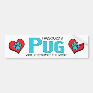 I Rescued a Pug (Male Dog) Bumper Sticker