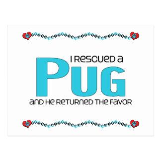 I Rescued a Pug (Male Dog) Postcard