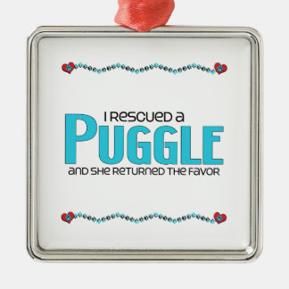 I Rescued a Puggle (Female) Dog Adoption Design Christmas Ornament