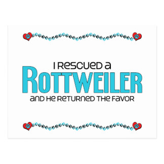 I Rescued a Rottweiler (Male Dog) Postcard