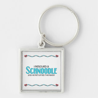 I Rescued a Schnoodle (Male) Dog Adoption Design Silver-Colored Square Key Ring