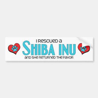 I Rescued a Shiba Inu (Female Dog) Bumper Sticker