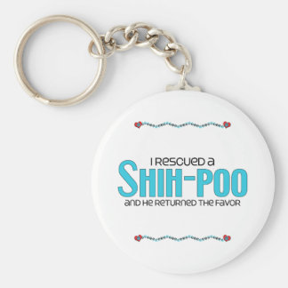 I Rescued a Shih-Poo (Male) Dog Adoption Design Basic Round Button Key Ring