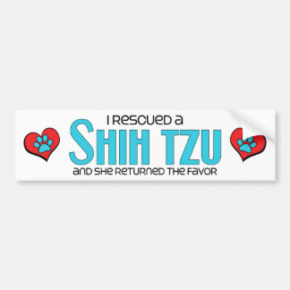 I Rescued a Shih Tzu (Female Dog) Bumper Sticker