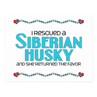 I Rescued a Siberian Husky (Female Dog) Postcard