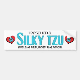 I Rescued a Silky Tzu (Female) Dog Adoption Design Car Bumper Sticker