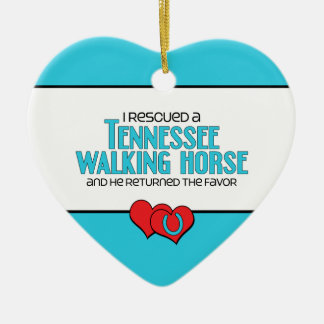I Rescued a Tennessee Walking Horse (Male Horse) Ceramic Heart Decoration
