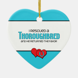 I Rescued a Thoroughbred (Male Horse) Double-Sided Heart Ceramic Christmas Ornament