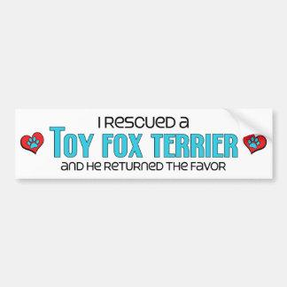 I Rescued a Toy Fox Terrier (Male Dog) Bumper Sticker
