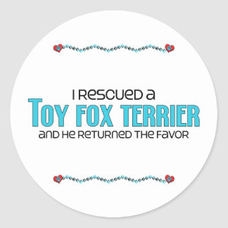I Rescued a Toy Fox Terrier Male Dog Round Stickers