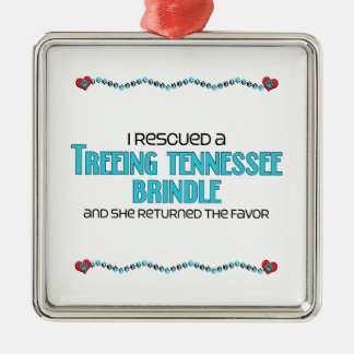 I Rescued a Treeing Tennessee Brindle (Female Dog) Christmas Ornament