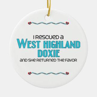 I Rescued a West Highland Doxie (Female Dog) Round Ceramic Decoration