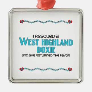 I Rescued a West Highland Doxie (Female Dog) Silver-Colored Square Decoration