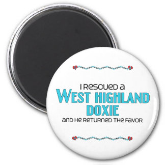 I Rescued a West Highland Doxie (Male Dog) 6 Cm Round Magnet