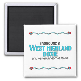 I Rescued a West Highland Doxie (Male Dog) Square Magnet