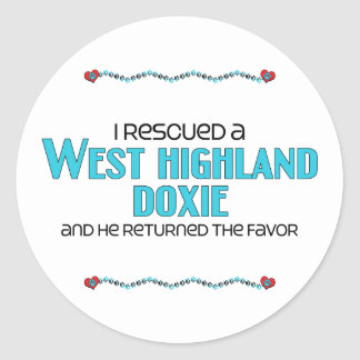 I Rescued a West Highland Doxie (Male Dog) Round Sticker